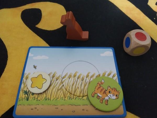 """Waldi, il dado, una stellina e un gattino pronto a nscondersi tra il grano, appena sarà tolto il """"tappino"""" in cartone"""
