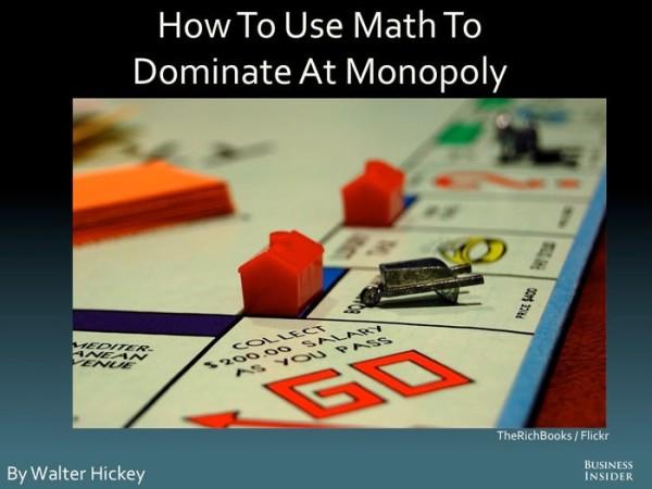 Alcune diapositive sulla matematica e Monopoly (credit: Business Insider)