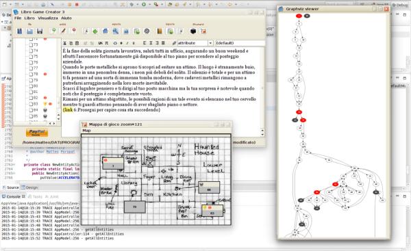 Una schermata che mostra tutte le funzionalità LibroGameCretor (credit: matteoporopat.com)