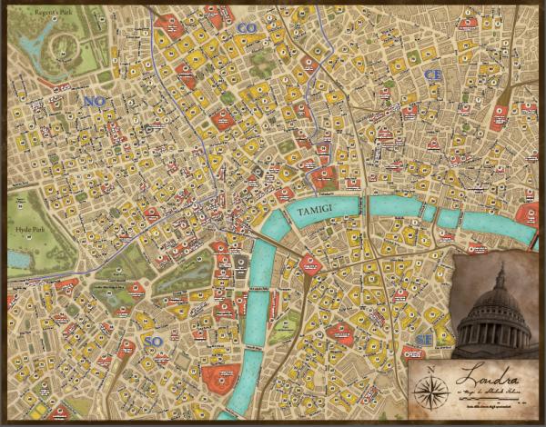 Mappa di Londra da usare nel gioco. In basso a sinistra una scala che permette di misurare le distanze in base al tempo di percorrenza.