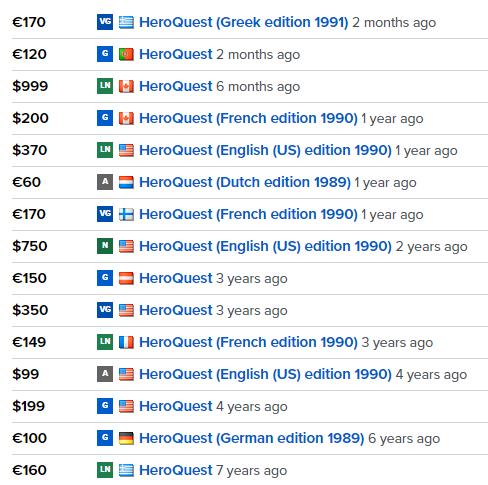 I prezzi dell'usato di Hero Quest vecchia edizione dal mercato di BGG