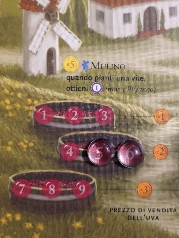 Il segnalino del vino e dei grappoli fa anche da lente
