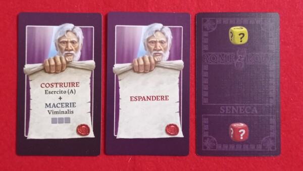 Le carte Seneca per il gioco in solitario. Un dado normale e la carta coperta permette di scegliere il dado da eliminare dalla vetrina. Generalmente Seneca occupa una Carta Progetto e sparge macerie su Roma. Altrimenti si spinge nelle Provincie.