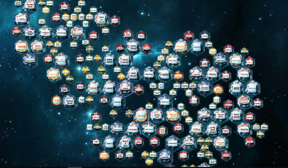 La galassia degli editori come vista nel sito Spiel Digital. E questo solo per la categoria family...