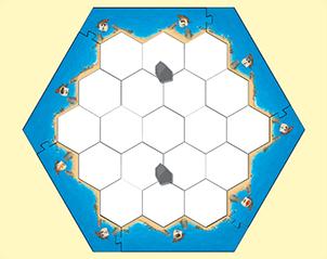 Setup per il gioco con 2 giocatori. Vedete evidenziate le città iniziali dei giocatori virtuali, che aprtano con un solo villaggioa testa