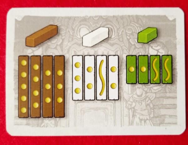 Una scheda riassume le pssoibili uscite dei Bastoncini del Fato. Sul retro si potevano riasumere le fasi di gioco