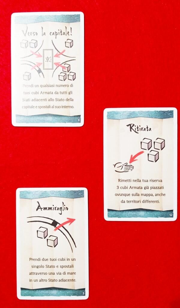 Alcune carte Tattica: formano una vetrina a inizio partita.