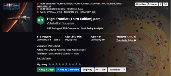 High Frontier è un gioco che prima di sedersi al tavolo tocca aver preso una laurea. Dalla community è osannato. Molto simulativo per carità, ma che la casalinga di Voghera l'abbia apprezzato è improbabile (credit: BGG)