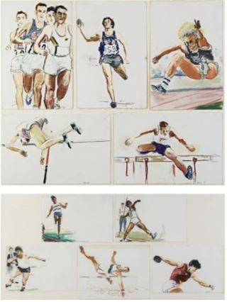Un dipinto fatto per rappresentare il Decahlon alle olimpiadi di Los Angeles del 1984. Sono 10 gare divise in due gruppi da 5 che si disputano in 2 giorni, secondo un calendario prefissato