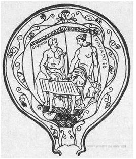 Il retro di uno specchi d'argento trovato a Prenestina, vicino Roma. Sembra sia l'inizio di una partita a Tabula.