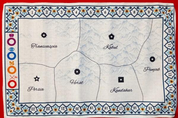 La plancia con le regioni è in cotone ricamato. Gran lusso