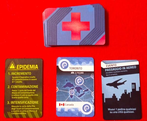 Nel Mazzo Giocatore ci sono le carte per trovare le Cure, alcune speciali, ma si nascondono anche le Epidemie
