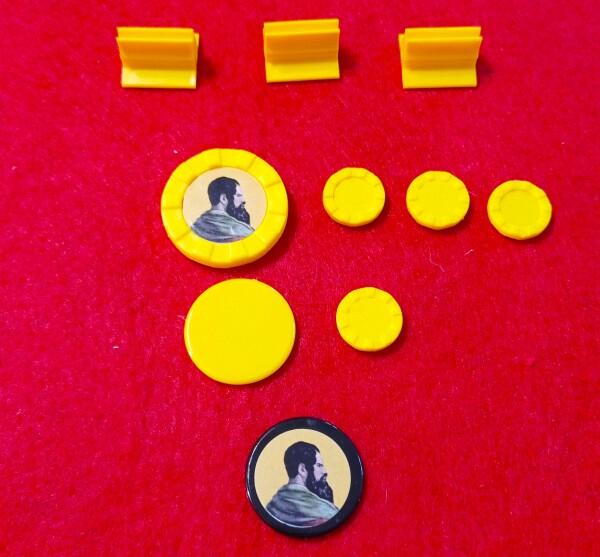 Tutto quello che serve: tre batelli, un archeologo con 3 aiutanti, due gettoni per tenere traccia sul tabellone ausiliario e un Segnalino Rivalsa