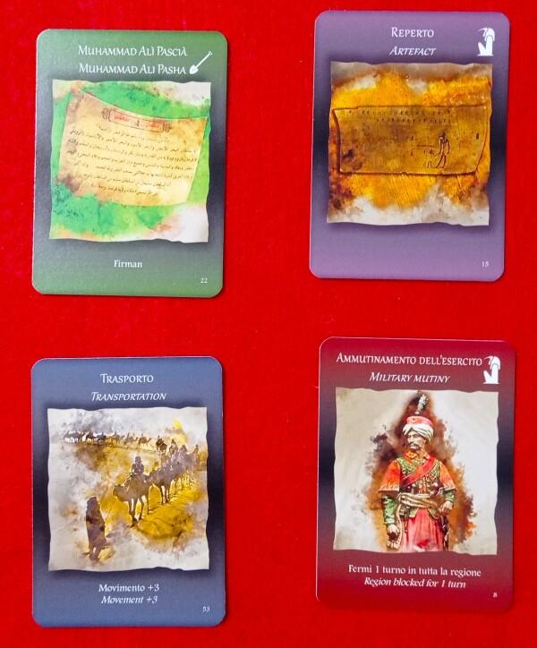 Quattro dei cinque tipi di carte disponibili