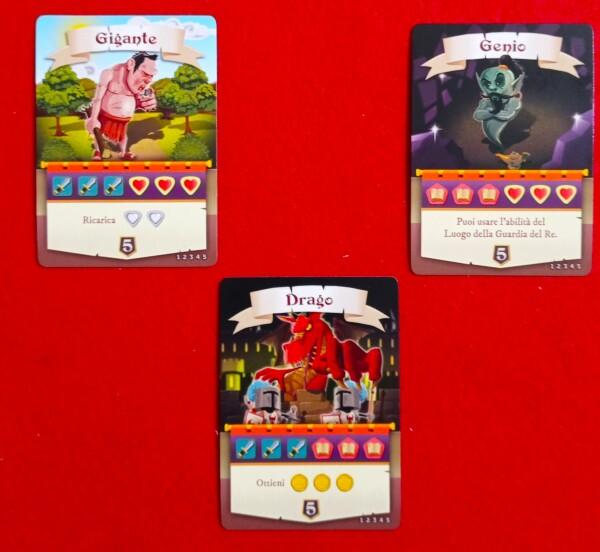 I tre mostri oggetto del gioco in solitario.