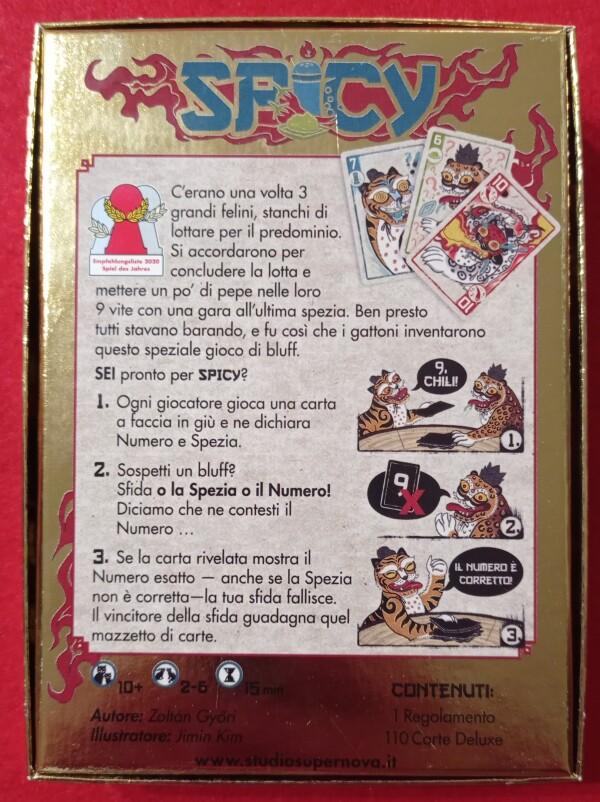 Il retro della scatola, fra le altre cose, indica le nomination allo Spiel